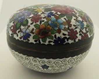Vintage Japanese Cloisonne Enamel w/ Silver Wiring Floral Bowl w/ Lid.