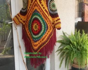 Crochet Poncho with detachable Hood/Plus Size Bohemian Hooded Poncho/Coloful Handmade Poncho-removable Hood/Winter Poncho/Women Poncho