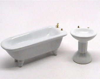Dollhouse,Bathroom Sink and Tub, Miniature Doll Furniture, Bathroom, Porcelain,Victorian, 1:12 Scale, Vintage, 1970, Sold As is