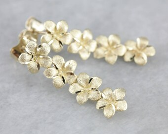 Cascading Flowers Drop Earrings, Floral Bridal Jewelry, Yellow Gold Earrings QXNEQY-N