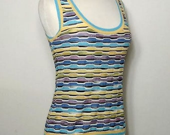 MISSONI Classic Multi-colored Knit Patterned Tank Top Size 8