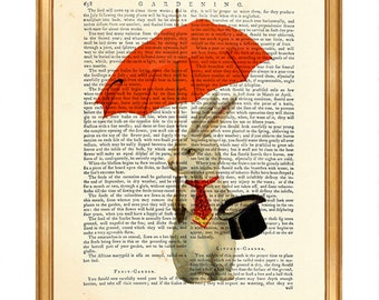 Rabbit Print, Rabbit with Umbrella, Rabbit with Hat, Rabbit With Tie, Rabbit Art Print, Upcycled Print, Rabbit Poster, Rabbit Wall Art, Gift