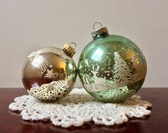 Set of Two Vintage Frosted Christmas Ornaments - Shiny Brite