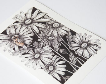 Bumble bee print, bee drawing, bumble bee print, pointillism drawing, floral dot work, flora and fauna, daisy flower drawing, save the bees