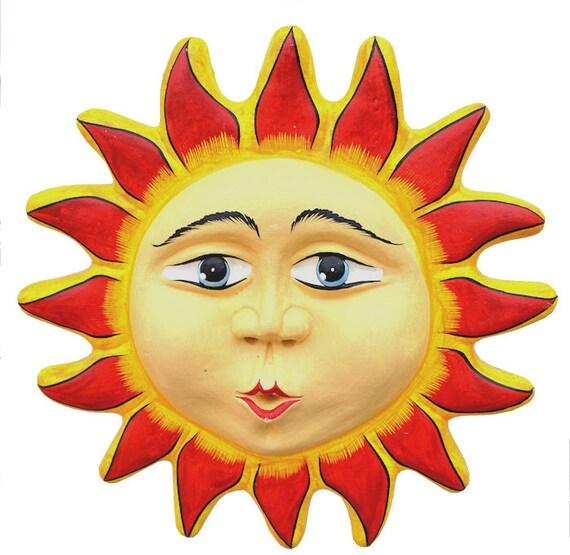 Mexican Ceramic Sun Garden Sun Handmade Sun Outdoor Wall