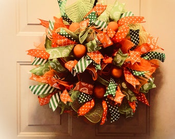 Orange and Lime Door Wreath , Citrus , wall