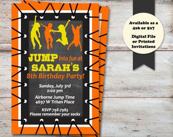 Trampoline Party Invitations, Bounce Birthday Party Invitations, Bounce House Birthday Party, Trampoline Party, Digital File or Printed