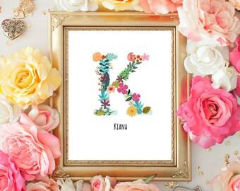 Monogram Nursery Art, Letter Print, Floral Letter Print, Custom Name, Personalized initial, Custom Digital 8x10 Print