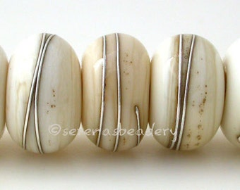 Handmade Lampwork Glass Beads LIGHT IVORY with Fine Silver Wire Wraps- TANERES - 11, 12, or 13 mm