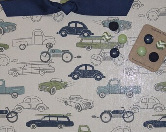 "Magnetic Board (24"" x 18"") Fabric magnet board - Bulletin board, Kids artwork, Cars and trucks, Vehicles, Navy Blue and green, Boys room"