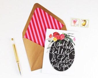 Elegant Hand Lettered Floral Valentine Card