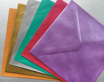 Pack of 12 or 36 square pearlescent envelopes. 130mm x 130mm. Ideal for card making, invitations. Shimmer envelopes. 6 colour options.