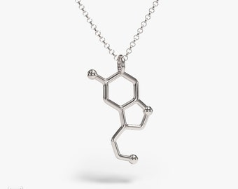science jewelry: silver serotonin necklace - 3D printed happy hormones pendant - wearable biology - PhD - nature - brain - neuroscience