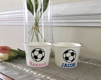 Soccer Party Snack Cups, Birthday Party, Team Party, Ice Cream Cup, Popcorn Cup, Hot Cold Cup, 12 oz Snack Cup, Set of 4, 8, 10, 12, 15, 25