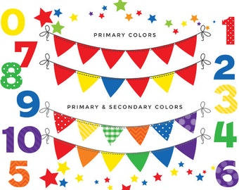 Bunting clip art numbers bunting banner flags clipart for digital scrapbooking flags decorative primary colors colours red green blue yellow
