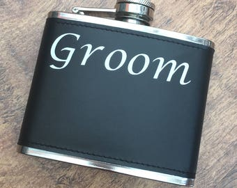 Groom hip flask.  Alcohol to calm your nerves. Personalised.  Groom box.
