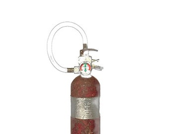 Steel Dry Chemical Fire Extinguisher, Pressure Gauge, Grip Top and Rubber Hose, Vintage Firefighting, History