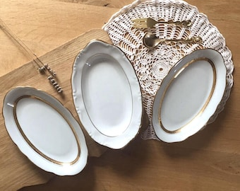 Set of 3 small dishes, white and gold