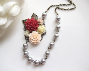 Vintage Style Floral Collage. Red, Light Peach, Ivory Cream Flowers, Grey Swarovski Pearls Bridal Wedding Bridesmaids Gift Jewelry Necklace