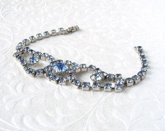 Something Blue Rhinestone Bracelet Classic 50's Vintage Costume Jewelry Bridal Formal Ballroom Pageant Special Occassion Island Paradise