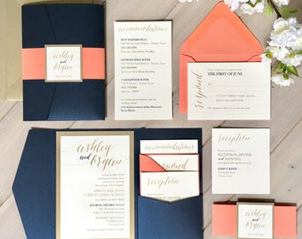 Navy, Coral and Gold Wedding Invitations, Navy and Coral Wedding Invitations, Navy and Gold Pocket Wedding Invitations