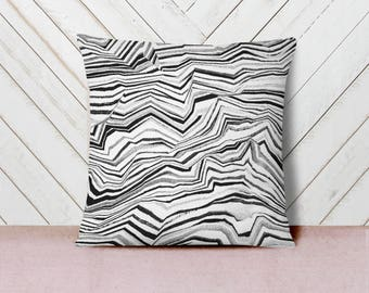 Agate Stripes Cotton Twill Throw Pillow - watercolor natural pattern, for home decor, black and white