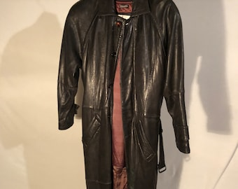 """Vintage BLACK LEATHER TRENCH Coat, full length. """"Skins by Tora"""""""