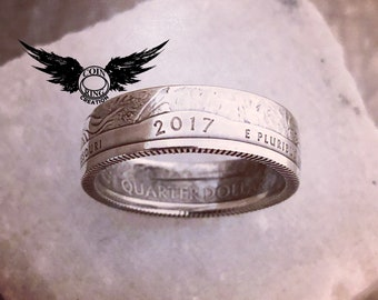 1992 to 2018 Silver quarter coin ring - pick your year 90% silver