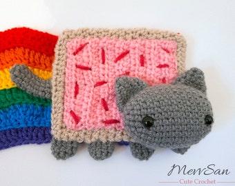 MADE to ORDER - Amigurumi Pop Tart Cat scarf, Nyan Cat scarf, rainbow scarf, cute crochet cat, amigurumi cat scarf, cat plush, softie