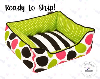 Colorful Dog Bed or Cat Bed - X-Small | Black, Chartreuse, Green, Pink, Happy, Bright | Ready to Ship!