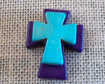CROSS Large Stacked Purple Stone Cross with Turquoise Blue Stone Cross, KEYCHAIN, Backpack, Frame, Jewelry Supply