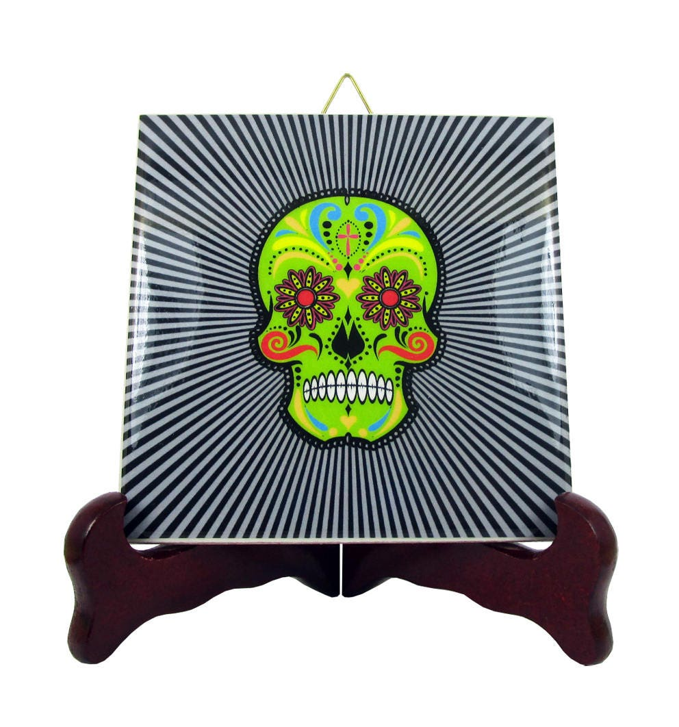 Day of the dead ceramic tile wall art decor dia de los muertos zoom dailygadgetfo Choice Image