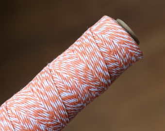 Orange and White Bakers Twine / Baker's Twine / 100 Yard Spool / 4 Ply
