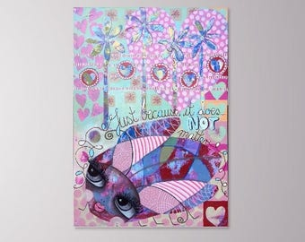 Just because it does not matter (Original Painting) Cute Beetle Bug with big eyes - Pink Purple Red - Healing Art for Children - 70x100cm