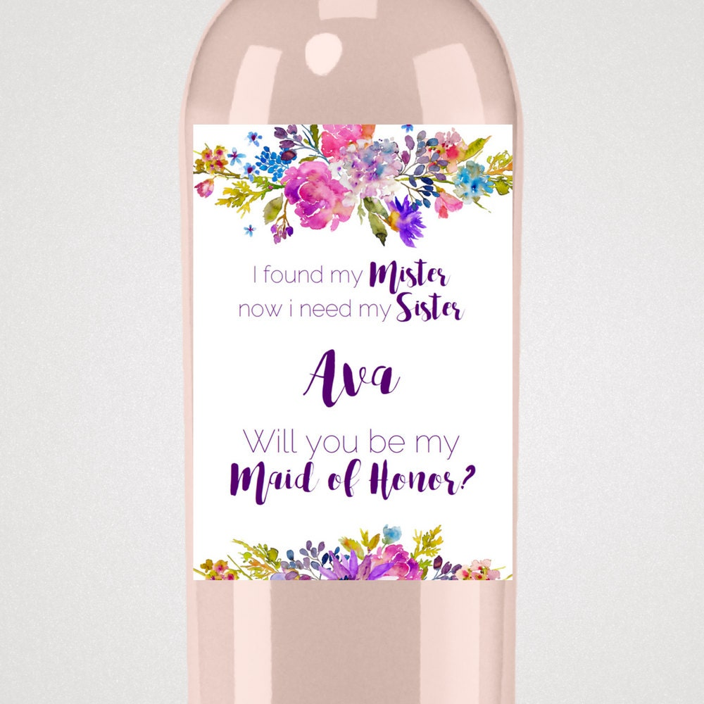 Garden will you be my maid of honor wine label template for Will you be my bridesmaid wine label template