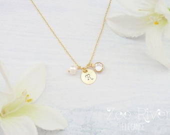 Personalized birthstone initial necklace in rose gold, silver or gold. Dainty birthstone and initial charm necklace