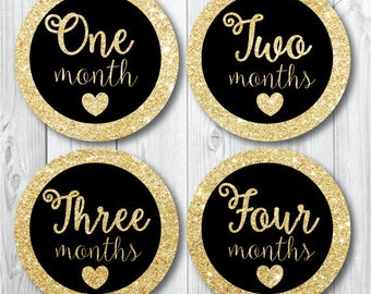 Gold Glitter Monthly Baby Stickers, First Year Stickers, Trendy Black and Gold Nursery Decor