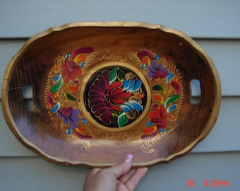Vintage Hand Carved and Painted Oval Wood Platter - Beautiful