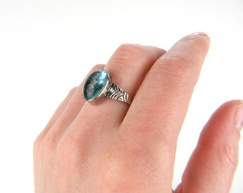 Antique Victorian Silver Aqua Teal Blue Solitaire Ring - Hand Crafted Art Glass - Bubbles - Bezel Set - Aquamarine - Size 8.75