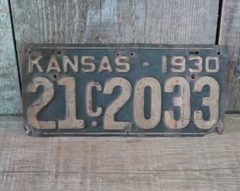 1930 Kansas License Tag Plate - Item 107
