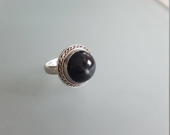 Vintage Black Star Diopside & Sterling Silver Ring // Mysterious Black Gemstone // Bold Statement Ring // Gothic Ring
