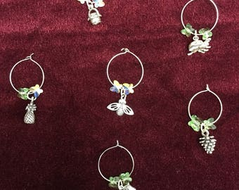 Silver Wine Charms with Swarovski crystals (set of 6)