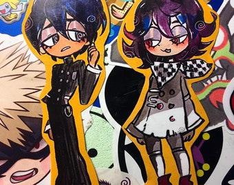 DRV3 Ouma and Saihara Glittered Stickers