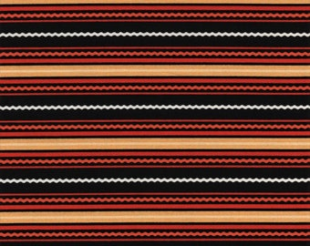 RJR Beggager's Bounty 2299 3 Halloween Horizontal Squiggly Lines On Black By The Yard