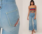 Denim Bell Bottoms Jeans XS High Waisted Jeans 70s Flared Denim Pants High Waist 1970s Vintage Hipster Blue Sailor Extra Small xs 23 00