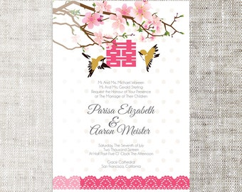 Diy printableeditable chinese wedding invitation card diy printableeditable chinese wedding invitation card template instant downloadcoral pink plum blossom lovely birds double happiness stopboris Gallery