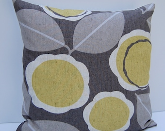 Modern Floral Pillow Cover, Taupe and Citron Throw Pillow, Yellow Floral Pillow Cover, 18x18 Floral Cushion Cover