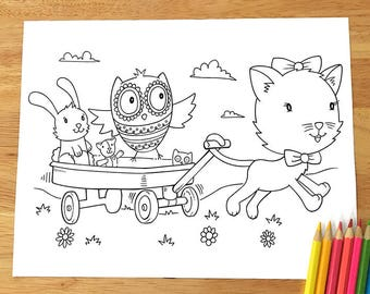 Cute Cat and Owl Playing Coloring Page! Downloadable PDF file!