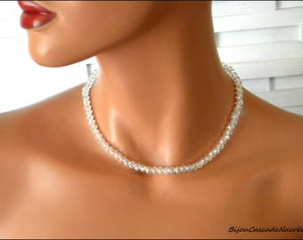 Silver Pearl Crystal Bridal Jewelry Wedding necklace