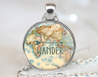 WANDER Necklace, Wander Pendant, World Map, Wander Keychain, Wander Jewelry, Bohemian Necklace, Arrow, Hippie, Gypsy, Gift for Traveler